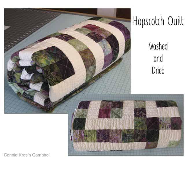Hopscotch Batik Quilt washed and dried