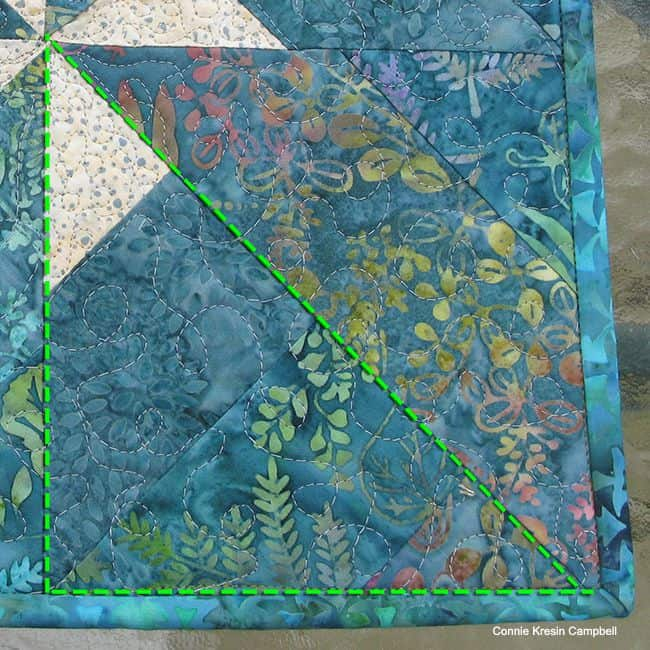 closeup of the block used in the batik table topper