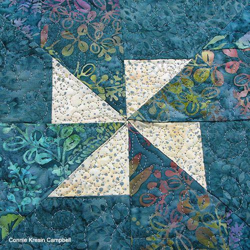 closeup of the batik teal pinwheel