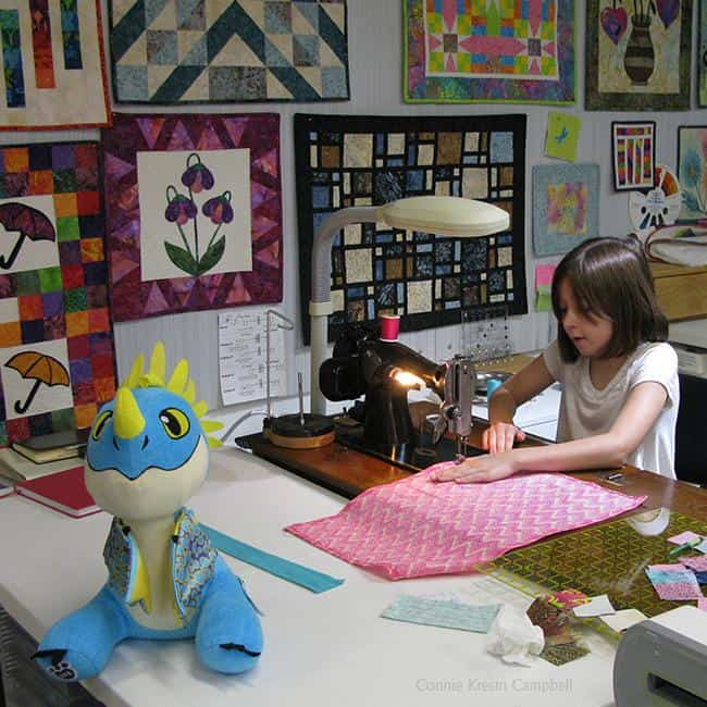 Teaching children to sew using a vintage sewing machine