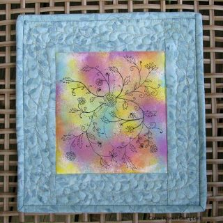 DIY Painted Fabric Art Mini Quilted Wall Hanging