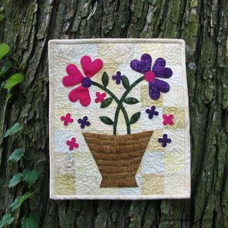 Specialty flower basket batik mini quilt