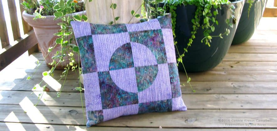 Drunkards Path pillow made with AccuQuilt GO Companion Set