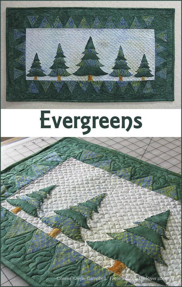Evergreens batik wallhanging made with Seashore collection of Island Batiks
