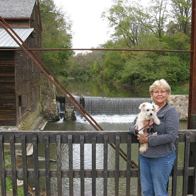 Grist Mill in Muscatine Iowa Wild Cat Den Park with Sadie