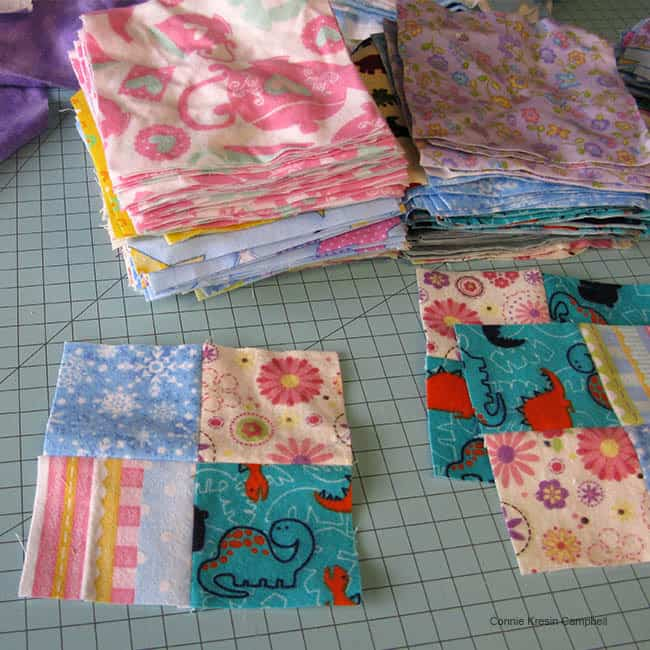 Cutting flannel squares