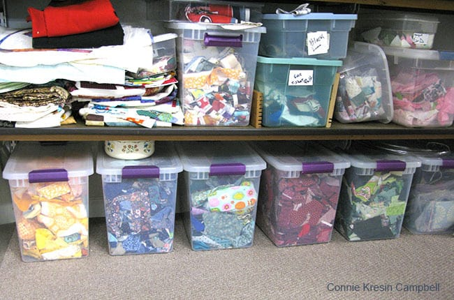 Fabric Scraps stored in totes