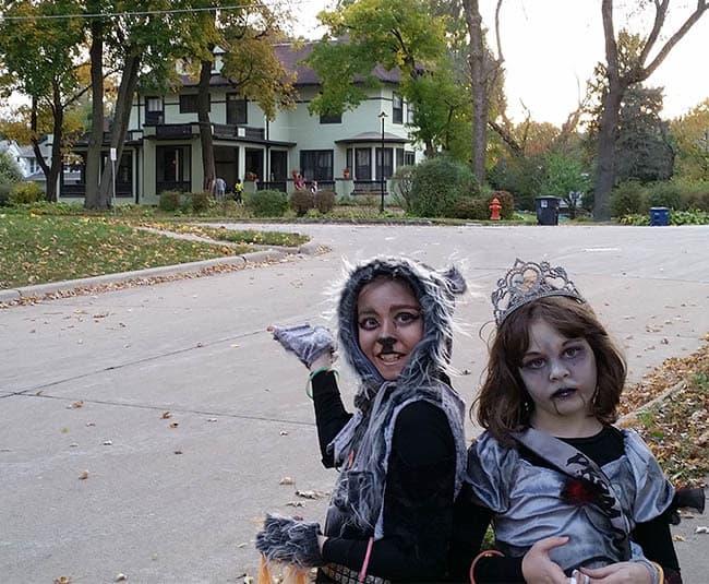 Halloween trick or treating in the neighborhood