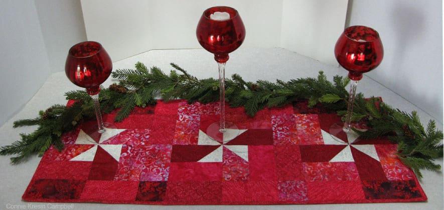 Christmas Pinwheels Batik table runner