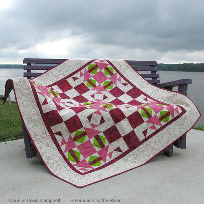 Fractured quilt on a bench pattern