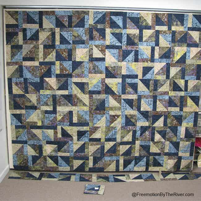 Blue batik king size quilt