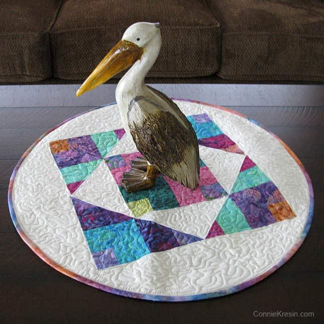 Batik topper with Pelican Pelly on it