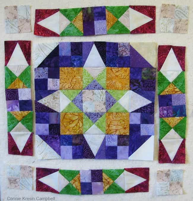 En Provence quilt block diagram on design wall