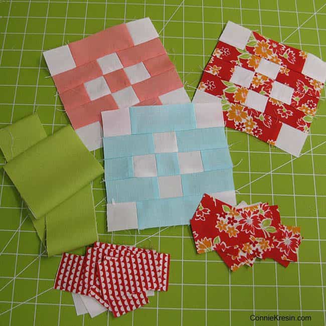 Patchwork Quilt Along featuring free patterns each month for a patchwork sampler quilt sponsored by Fat Quarter shop