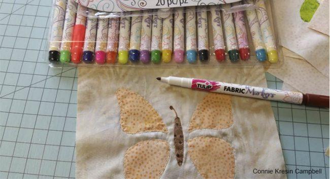 Fabric Pens used on applique blocks