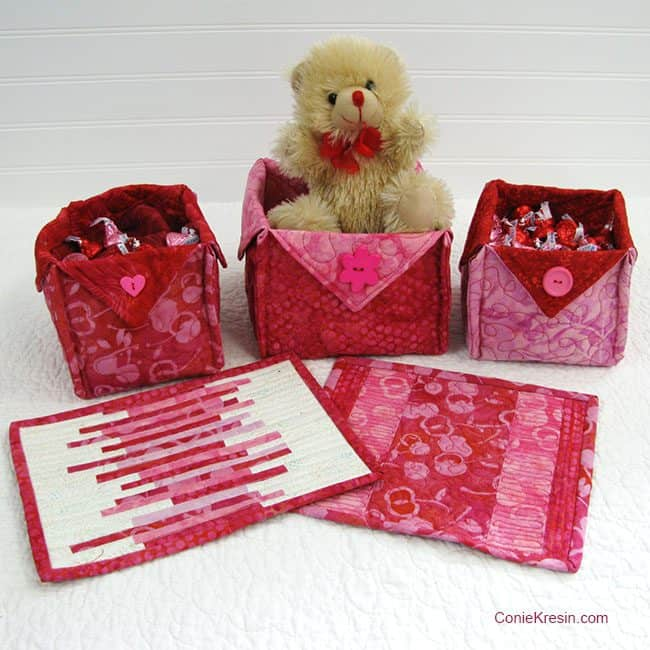 Galentine's Day and Valentine's Day Batik Fabric Baskets tutorial link and tutorial for Batik Mug Rugs - conniekresin.com