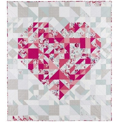 Free Quilt Pattern Pieced Heart Quilt