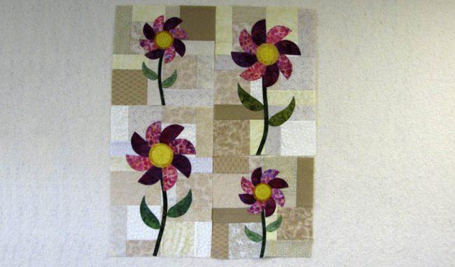 Spring Batik Appliqued Flowers