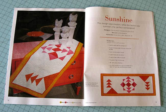 Sunshine Table runner in Modern Quilts Magazine