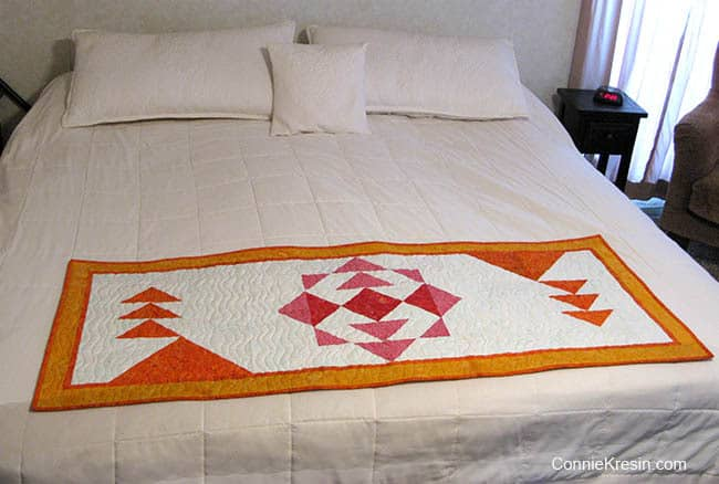Sunshine table runner or bed runner on bed