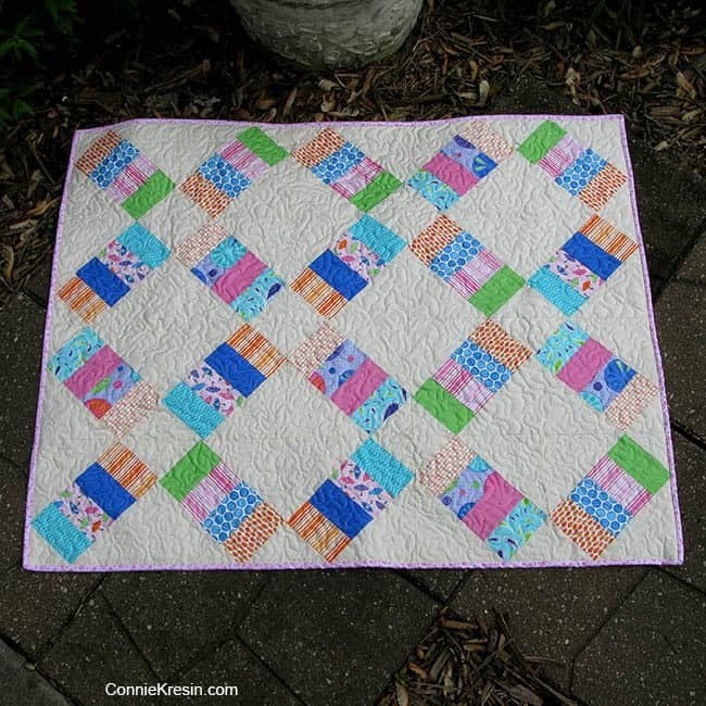 Jelly Roll Railway baby quilt