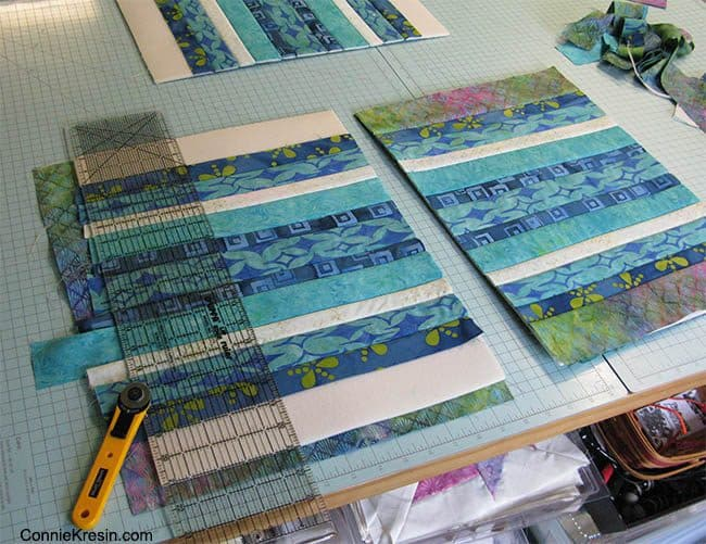 Batik QAYG placemats tutorial straighten and bind