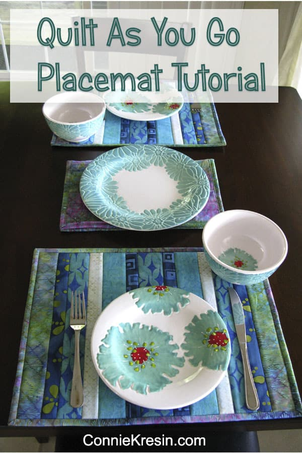 Batik Quilt As You Go Placemat Tutorial Pin