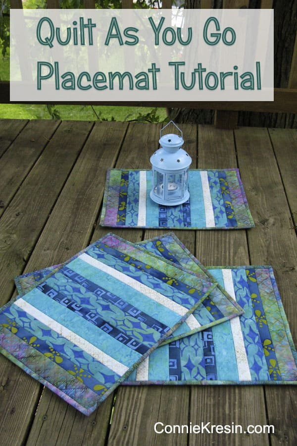 Batik Quilt As You Go Placemats Tutorial Pin