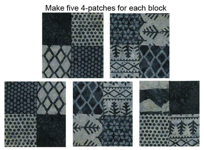 Alpine Snowflakes 4 patch blocks