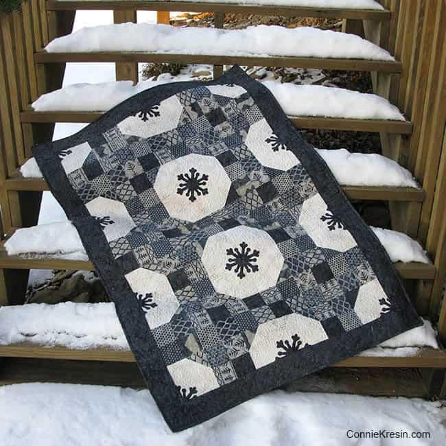Alpine snowflakes on steps
